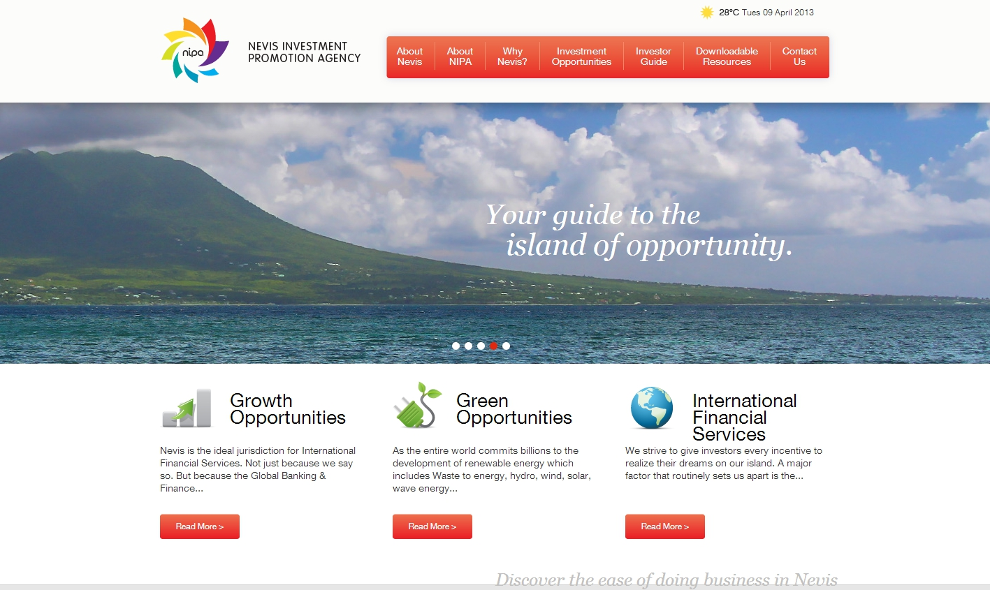 The home page of the new Nevis Investment Promotion Agency's website