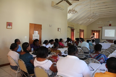 Education Officer in the Department of Education Mr. Laurence Richards in session with the school management teams and principal from primary and secondary schools on Nevis, during a workshop on Record Keeping at the Red Cross conference room organised by the Department