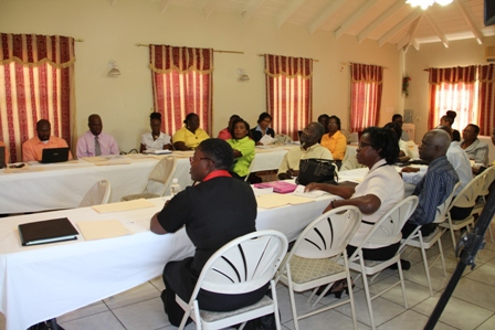 Participants at the two-day workshop of  the Department of Education on Nevis' Teacher Appraisal Training Workshop for education officials and principals at the red Cross conference room