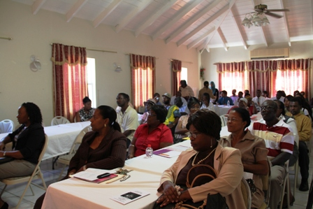 A section of participants at the Workshop on Depression hosted by the Nevis Community Mental Health Unit in conjunction with the Ministry of Health at the Red Cross conference room in Charlestown