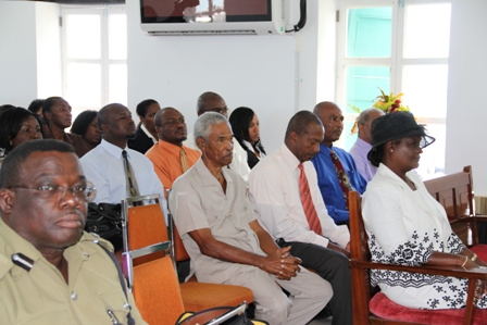 A section of persons in the gallery including First Lady Mrs. Verni Amory (front row) at the Nevis Island Assembly during the 2013 Budget presentation by Premier of Nevis and Minister of Finance in the Nevis Island Administration Hon. Vance Amory on April 26, 2013