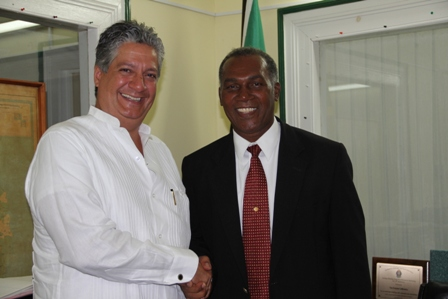 Premier of Nevis Hon. Vance Amory welcomes new VenezuelanAmbassador to St. Kitts and Nevis His Excellency Romolo Camilo Henriquez Gonzalez at his Bath Hotel office at Bath Plain