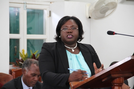 Junior Minister responsible for Social Development in the Nevis Island Administration Hon. Hazel Brandy-Williams makes her first official presentation at the Nevis Island Assembly Chambers, during the 2013 Budget Debate at Hamilton House in Charlestown on April 29, 2013, with Premier of Nevis Hon. Vance Amory seating in the background