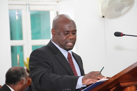 Minister responsible for Housing and Lands in the Nevis Island Administration Hon. Alexis Jeffers makes his maiden presentation at the 2013 Budget Debate at the Nevis Island Assembly on April 30, 2013