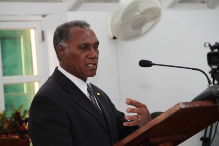 Premier and Minister of Finance in the Nevis Island Administration Hon. Vance Amory at the Nevis Island Assembly on April 30, 2013