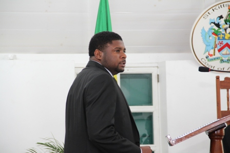 Junior Minister for Communications and Works and Public Utilities in the Nevis Island Administration Hon. Troy Liburd making his presentation during the 2013 Budget Debate at the Nevis Island Assembly Chambers at Hamilton House in Charlestown on April 30, 2013