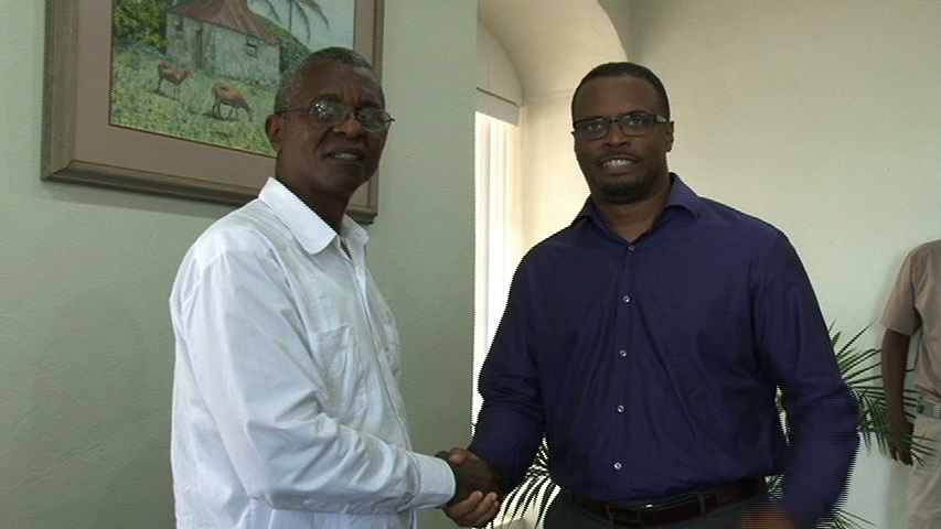 Acting Premier of Nevis and Minister of Health Hon. Mark Brantley (r) welcomes Eastern Caribbean Director of the Cuban Institute of Friendship with the Peoples (ICAP), Mr. Joaquin Lacke Portuando