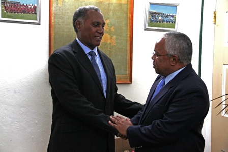 Premier of Nevis Hon. Vance Amory welcomes Cuban Ambassador His Excellency Hugo Ruiz Cabrera to his Office at Bath Plain on November 7, 2013