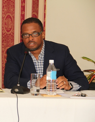 Deputy Premier and Minister of Tourism on Nevis Hon. Mark Brantley at a town hall meeting hosted by the Nevis Island Administration at the Red Cross conference room on November 07, 2013
