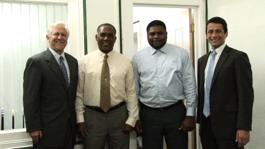 (L-R) Global Director of the Clinton Foundation Climate Initiative Mr. Jan Hartke, Premier of Nevis Hon. Vance Amory, Programme Manager in the Clinton Climate Initiative Mr. David Alcaly and Junior Minister responsible for Natural Resources and the Environment on Nevis Hon. Troy Liburd at the Premier's Bath Plain office on November 06, 2013