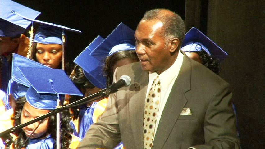Minister of Education and Premier of Nevis, Hon. Vance Amory delivering remarks at the Charlestown Secondary School and Nevis Sixth Form College 2013 Graduation Ceremony at the Nevis Performing Arts Centre on November 13, 2013 under the theme 'Reflecting on the Past, Consolidating the Present, Illuminating the future'