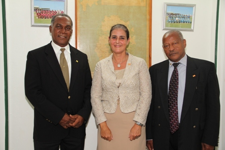(L-R) Premier of Nevis Hon. Vance Amory, visiting Ambassador of Spain based in Jamaica Her Excellency Mrs. Celsa Nuno and Honorary Consul of Spain based in St. Kitts Mr. Gary Da Silva at the Premier's Bath Plain office on October 28, 2013