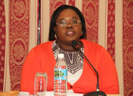 Junior Minister responsible for Social Development in the Nevis Island Administration Hon. Hazel Brandy-Williams makes her presentation at the town hall meeting held on November 07, 2013