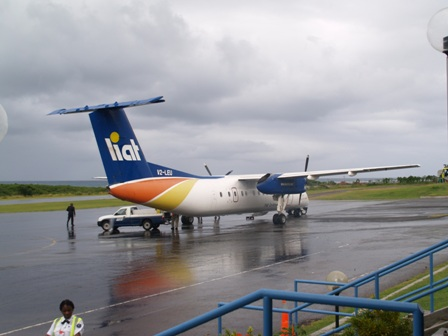 An aircraft from LIAT's fleet on the tarmac at the Vance W. Amory International Airport in Newcastle