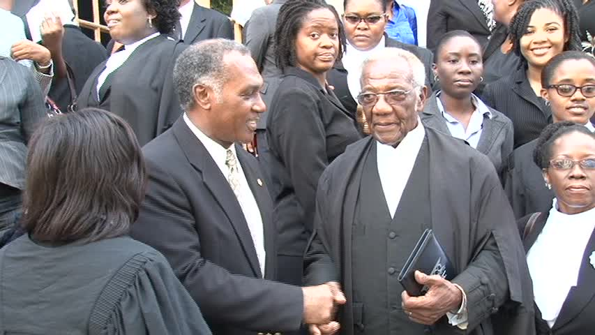 Premier of Nevis Hon. Vance Amory congratulatesSenior Lawyer on Nevis Mr. Theodore Hobson QC after a special sitting of the High Court in Nevis in honour of the 50 year since his admittance to the Bar in St. Christopher and Nevis in November 1963