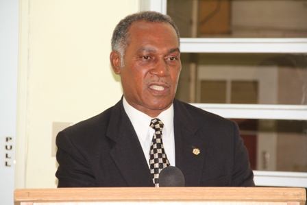 Minister of Education and Premier of Nevis Hon. Vance Amory delivering remarks at a handing over ceremony at the Department of Education, Marion Heights on December 12, 2013