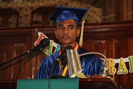 Valedictorian of the Gingerland Secondary School's Graduating Class of 2013 Mr. Doodnauth Sarjoo