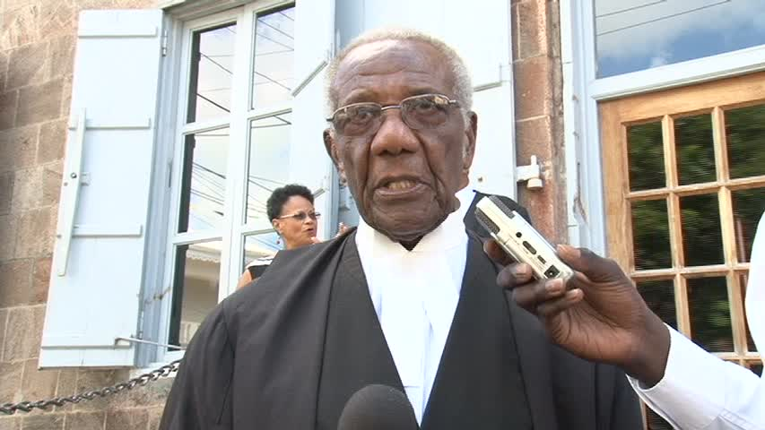 Senior Lawyer on Nevis Mr. Theodore Hobson QC after a special sitting of the High Court in Nevis in honour of the 50 year since his admittance to the Bar in St. Christopher and Nevis in November 1963