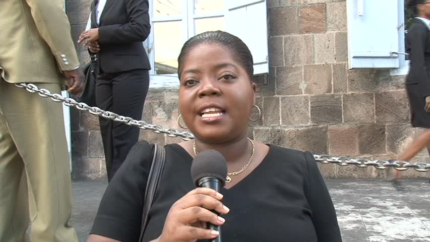 Nevis Lawyer Ms. Jackie Hunkins outside the High Court in Charlestown