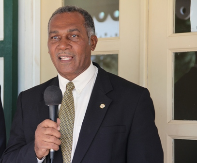 Premier of Nevis Hon. Vance Amory delivering remarks at a press briefing outside the Ministry of Tourism at Bath Hotel, Bath Plain on December 16, 2013