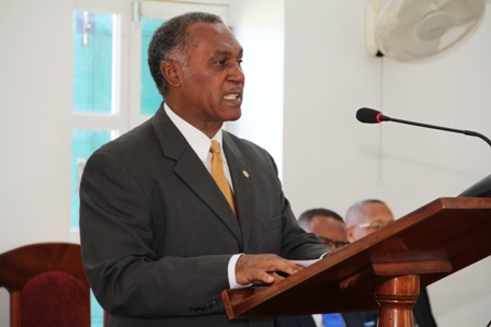 Premier of Nevis and Minister of Finance Hon. Vance Amory delivering the Nevis Island Administration's 2014 Budget Address at a sitting of the Nevis Island Assembly on December 18, 2013