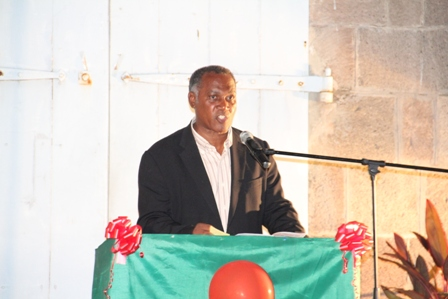 Premier of Nevis, Hon. Vance Amory delivering remarks at the Nevis Island Administration's annual Christmas Tree Lighting ceremony at the Memorial Square in Charlestown