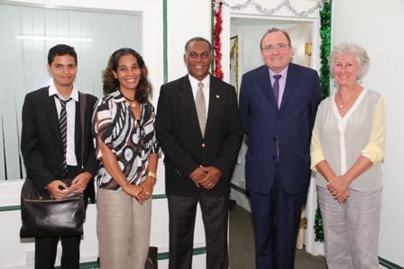 (l-r) Panamanian colleague to French Ambassador to the OECS, Honorary Consul of France in St. Kitts and Nevis Ms. Shawna Lake, Premier of Nevis Hon. Vance Amory and French Ambassador to the Organization of Eastern Caribbean States (OECS) based in St. Lucia His Excellency Eric de la Moussaye and his wife