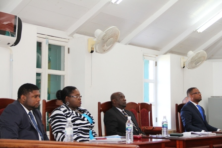Other members of the Nevis Island Administration during the Budget Address at the December 18th sitting of the Nevis Island Assembly (l-r) Hon. Troy Liburd, Hon. Hazel Brandy-Williams, Hon. Alexis Jeffers and Deputy Premier Hon. Mark Brantley