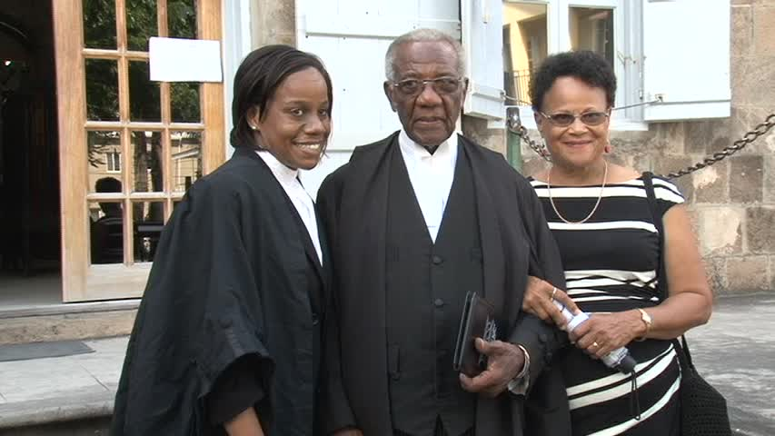 Senior Lawyer on Nevis Mr. Theodore Hobson QC after a special sitting of the High Court in Nevis in honour of the 50 year since his admittance to the Bar in St. Christopher and Nevis in November 1963 with his wife Daphne and daughter (a lawyer) Farida