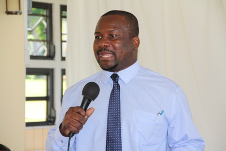 Permanent Secretary in the Ministry of Social Development, Keith Glasgow delivering remarks at the 9th annual Hanleys Road senior citizens outing at the Mount Nevis Hotel on December 13, 2013