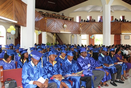 Graduands of the Gingerland Secondary School Class of 2013, during their graduation ceremony at the Gingerland Methodist Church on November 28, 2013
