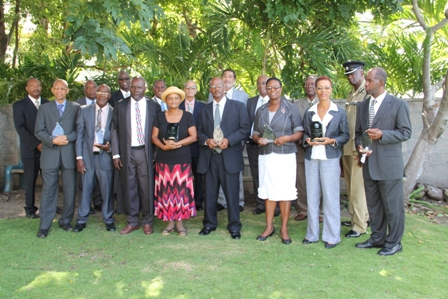 Past President's of the Nevis Island Assembly, clerks and parliamentarians awarded in recognition of their service and dedication to the Assembly on December 10, 2013 at the Nevis Island Assembly Chambers, Hamilton House