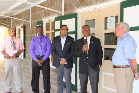 (l-r) Manager of the Vance W. Amory International Airport Mr. Stephen Hanley, Chief Executive Officer of the Nevis Tourism Authority Mr. Greg Phillip, Minister of Tourism and Deputy Premier of Nevis Hon. Mark Brantley, Premier of Nevis Hon. Vance Amory and Chief Executive Officer of Fly Montserrat Captain Nigel Harris following a press briefing by the Nevis Island Administration to announce the Fly Montserrat service from the Vance W. Amory International Airport at Newcastle.