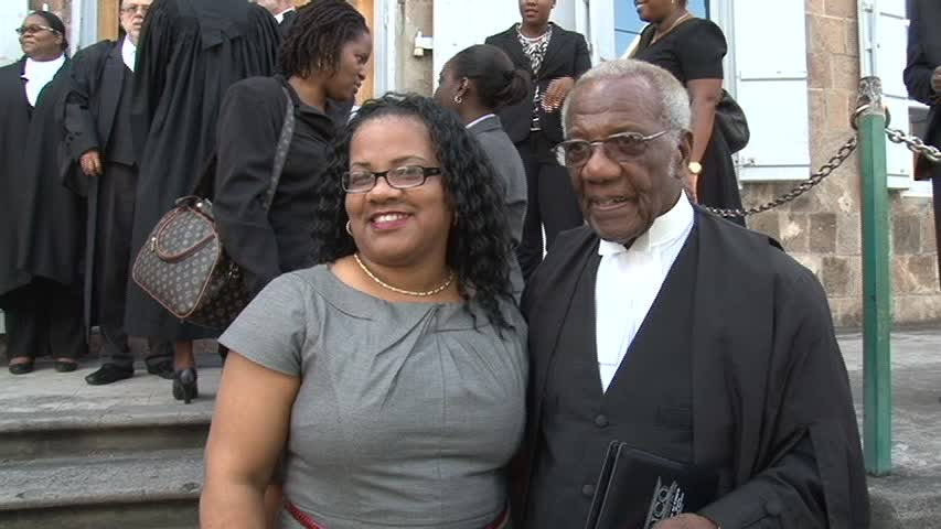Longest serving Lawyer on Nevis Mr. Theodore Hobson QC and his Secretary of 27 years Mrs. Charmaine Hanley