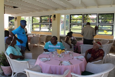 A section of the Senior Citizens celebrating at the 9th annual senior citizens outing at the Mount Nevis Hotel on December 13, 2013