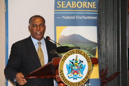 Premier of Nevis Hon. Vance Amory delivering remarks at a ceremony commemorating Seaborne Airlines' inaugural flight to Nevis at the Vance W. Amory International Airport on January 22, 2014