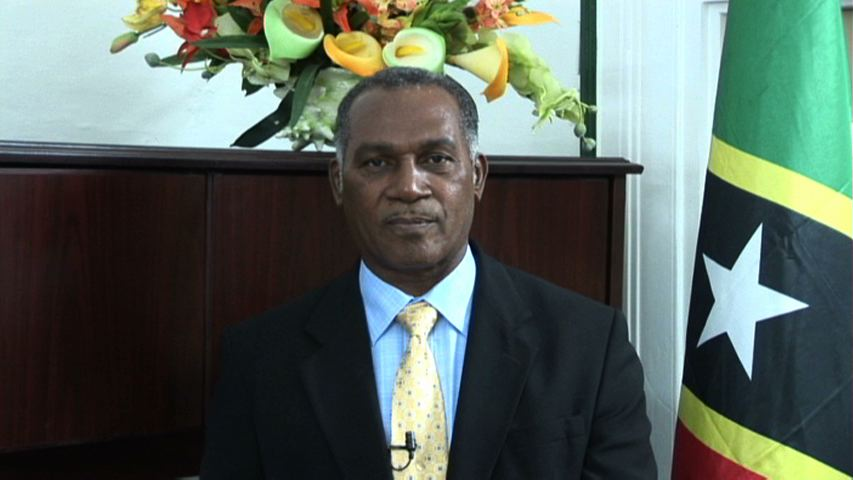 Premier of Nevis Hon. Vance Amory delivering his Christmas message at his Bath Hotel office, Bath Plain