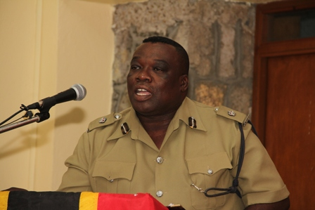 Superintendent Hilroy Brandy Divisional Commander of the Royal St. Christopher and Nevis Police Force, Nevis Division, delivering remarks at the Division's annual New Year Programme, at the Charlestown Police Station's recreational room on January 06, 2014