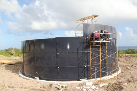The 300,000 gallon reservoir under construction at Camps as part of the Caribbean Development Bank-funded Water Enhancement Project