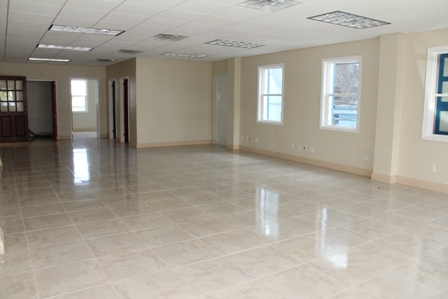 an open space on the bottom floor of the two-storey Nevis Corporative Credit Union's Ingle Blackette Building Business Complex in Charlestown
