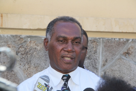 Premier of Nevis Hon. Vance Amory during a tour of the Treasury Building in Charlestown gutted by an early morning fire on January 17, 2014