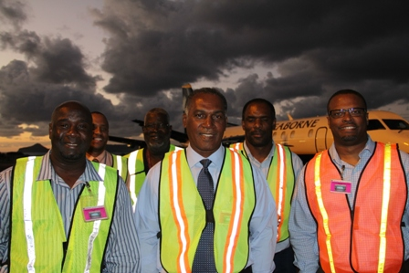 Members of the Nevis Island Administration and the Nevis Air and Sea Ports Authority having witnessed Seaborne Airlines make its inaugural flight into the Vance W. Amory International Airport on January 15, 2014. (L-R front row) Hon. Alexis Jeffers, Premier of Nevis Hon. Vance Amory, Deputy Premier and Minister of Tourism Hon. Mark Brantley with (back row L-R) Vance W. Amory International Airport Manager Stephen Hanley, Chief Security Officer David Hendrickson and Chairman of the Nevis Air and Sea Ports Authority Board Collin Dore