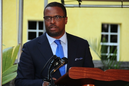 Acting Premier of Nevis Hon. Mark Brantley delivering remarks at the Happy Birthday Alexander Hamilton ceremony on the grounds of the Alexander Hamilton Museum on January 10, 2014