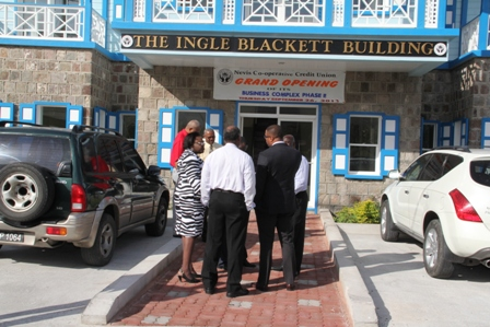 Premier of Nevis and other members of the Nevis Island Administration Cabinet tour the Nevis Cooperative Credit Union's Ingle Blackette Building Business Complex in Charlestown