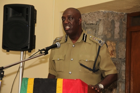 Commissioner of Police in St. Kitts and Nevis Celvin Walwyn delivering remarks at the Royal St. Christopher and Nevis Police Force Nevis Division's annual New Year Programme at the Charlestown Police Station recreational room
