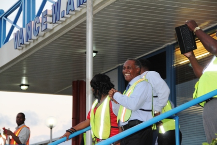 A visibly elated Premier Amory moments after Seaborne Airlines touched down at the Vance W. Amory International Airport during its inaugural flight to Nevis on January 15, 2014