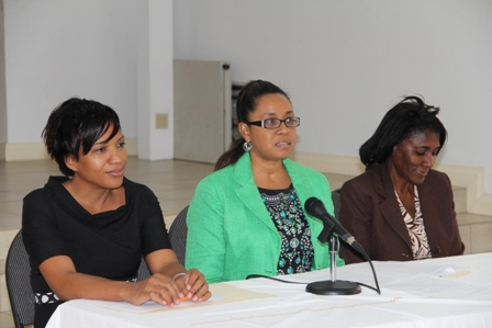 (L-R) Permanent Secretary in the Ministry of Health on Nevis Nicole Slack-Liburd, Pan American Health Organization Country Programme Specialist for St. Kitts and Nevis Dr. Patrice Lawrence and Pan American Health Organization/OECC Family Health Advisor Dr. Beryl Irons at the Human Papilloma Virus and Vaccine Acceptability Study Workshop at the St. Paul's Anglican Church conference room on January 29, 2014