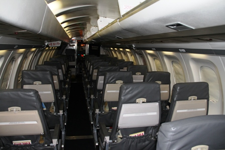 A section of the inside the Seaborne Airline aircraft while on the tarmac of the Vance W. Amory International Airport on January 15, 2014