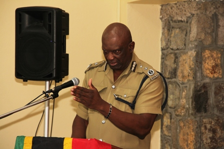 Assistant Commissioner of Police stationed on Nevis Robert Liburd delivering remarks at the Royal St. Christopher and Nevis Police Force, Nevis Division's annual New Year Programme at the Charlestown Police Station recreation room