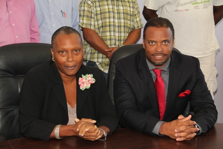 (L-R) Ms. Deborah Tyrell Chairman for Culturama 40 and Deputy Premier of Nevis and Minister of Culture Hon. Mark Brantley at the Nevis Island Administration's conference room in Charlestown on January 15, 2014